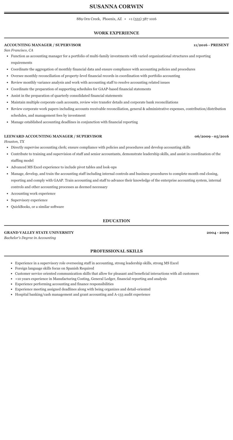 Accounting Manager Supervisor Resume Sample Mintresume