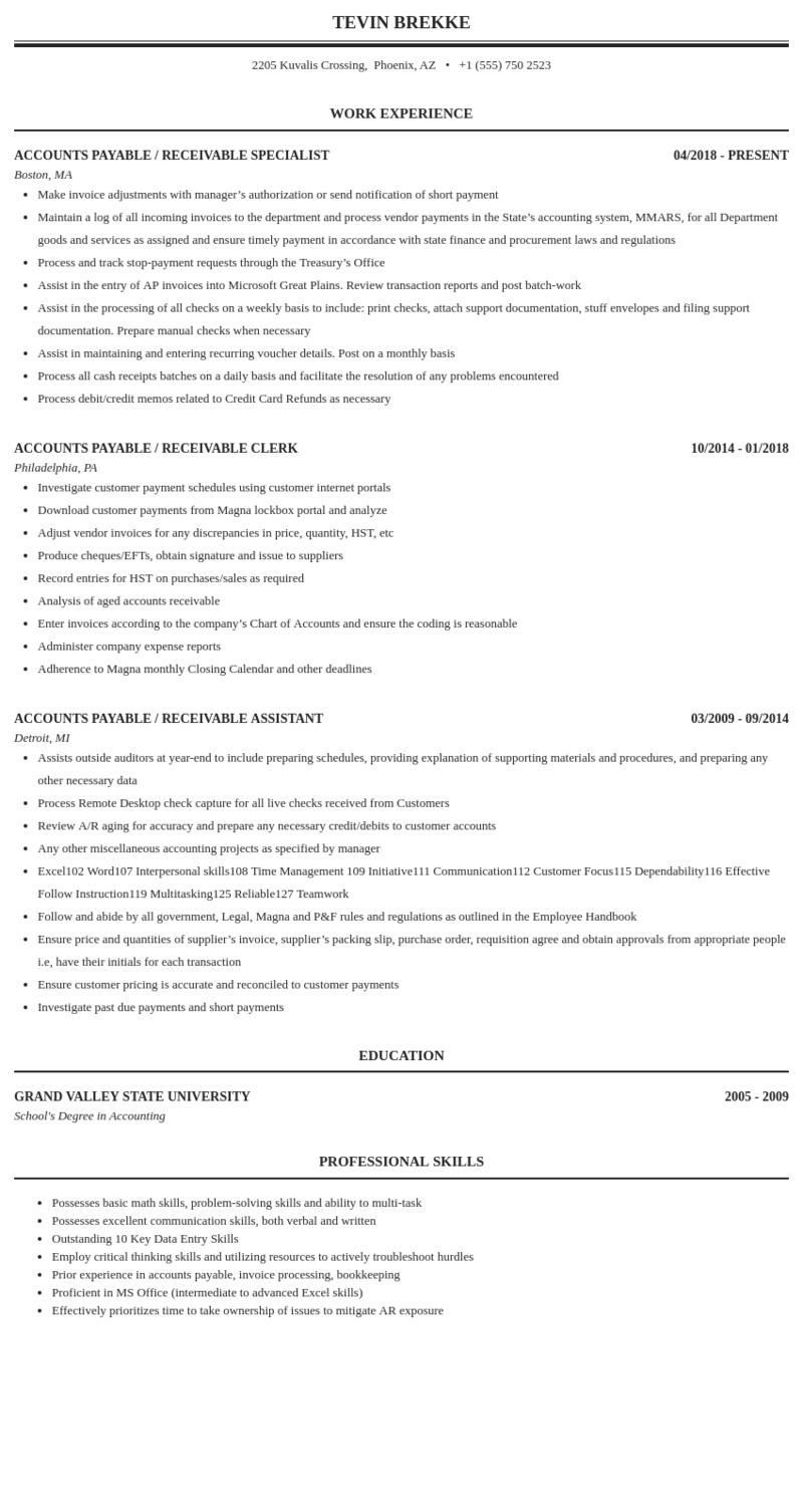 Accounts Payable Receivable Resume Sample Mintresume