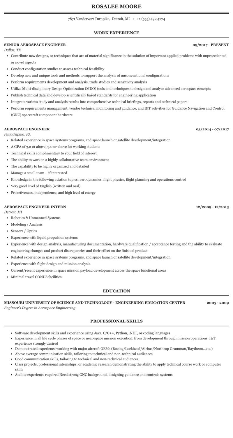 aerospace engineering internship resume