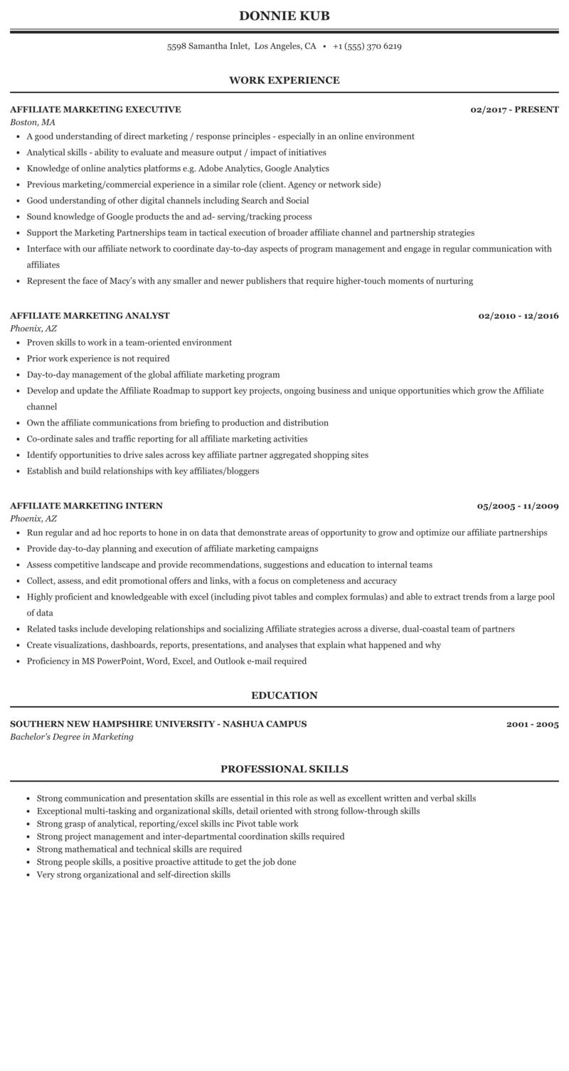 Resume affiliate enclose photo resume