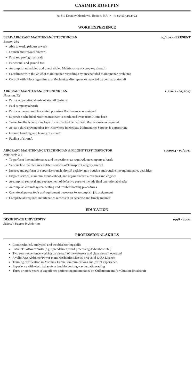 Aircraft Maintenance Technician Resume Sample Mintresume