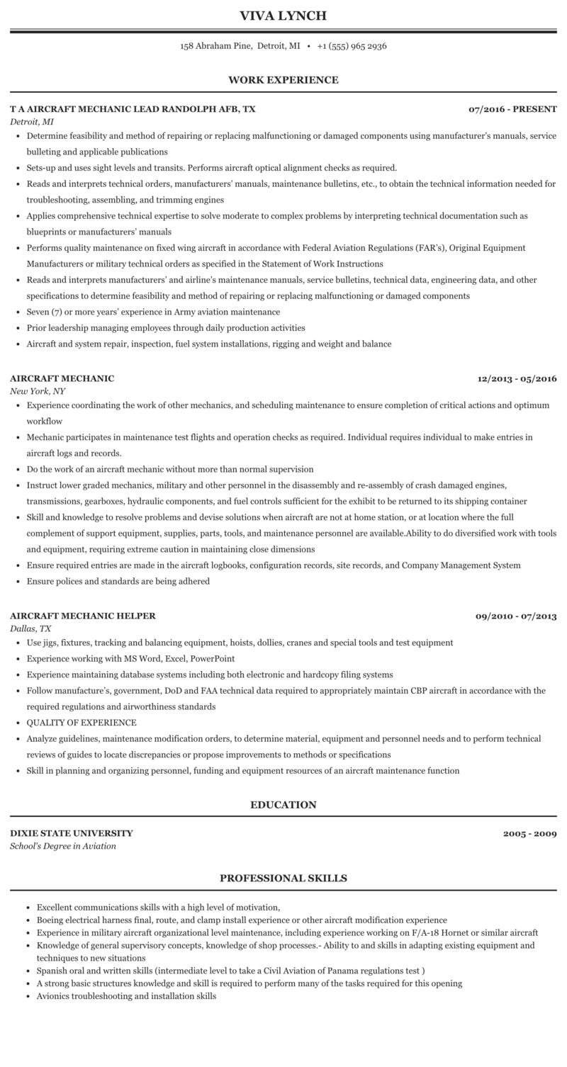 aircraft mechanic resume sample  finder jobs