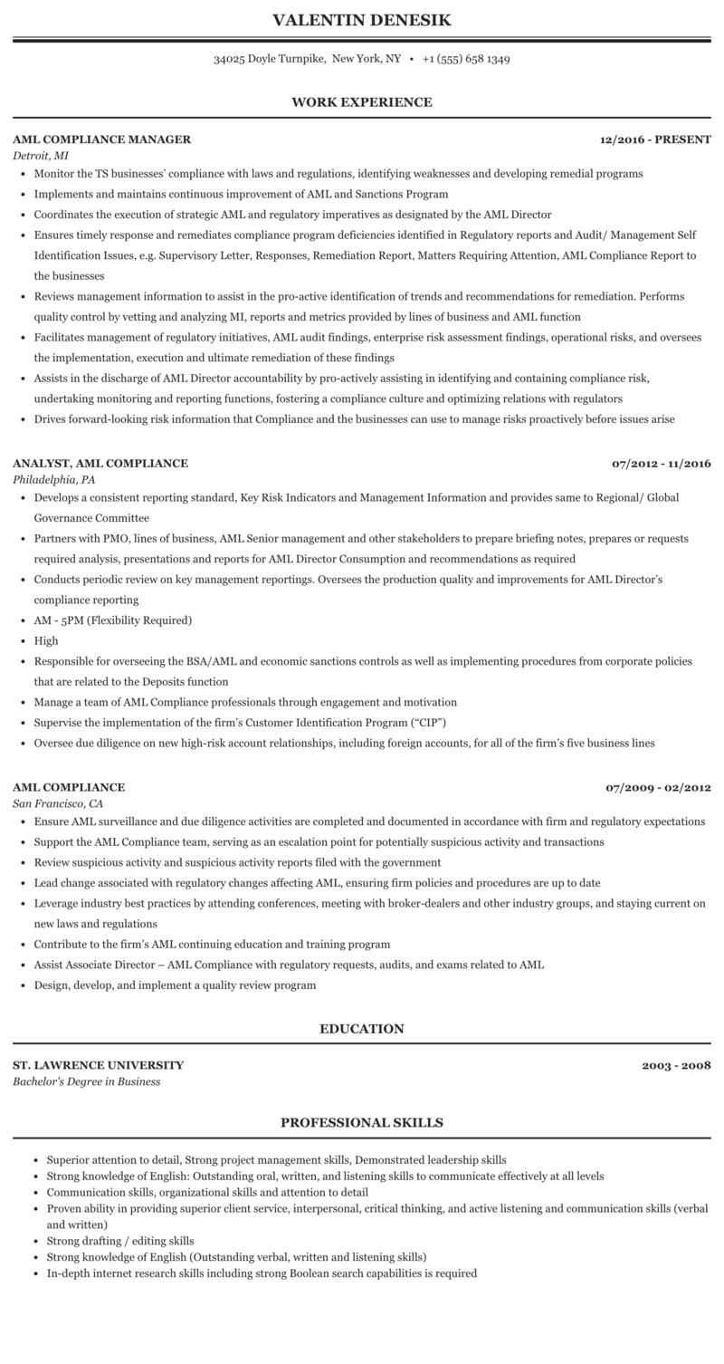 Sample aml compliance resume best term paper ghostwriters for hire ca