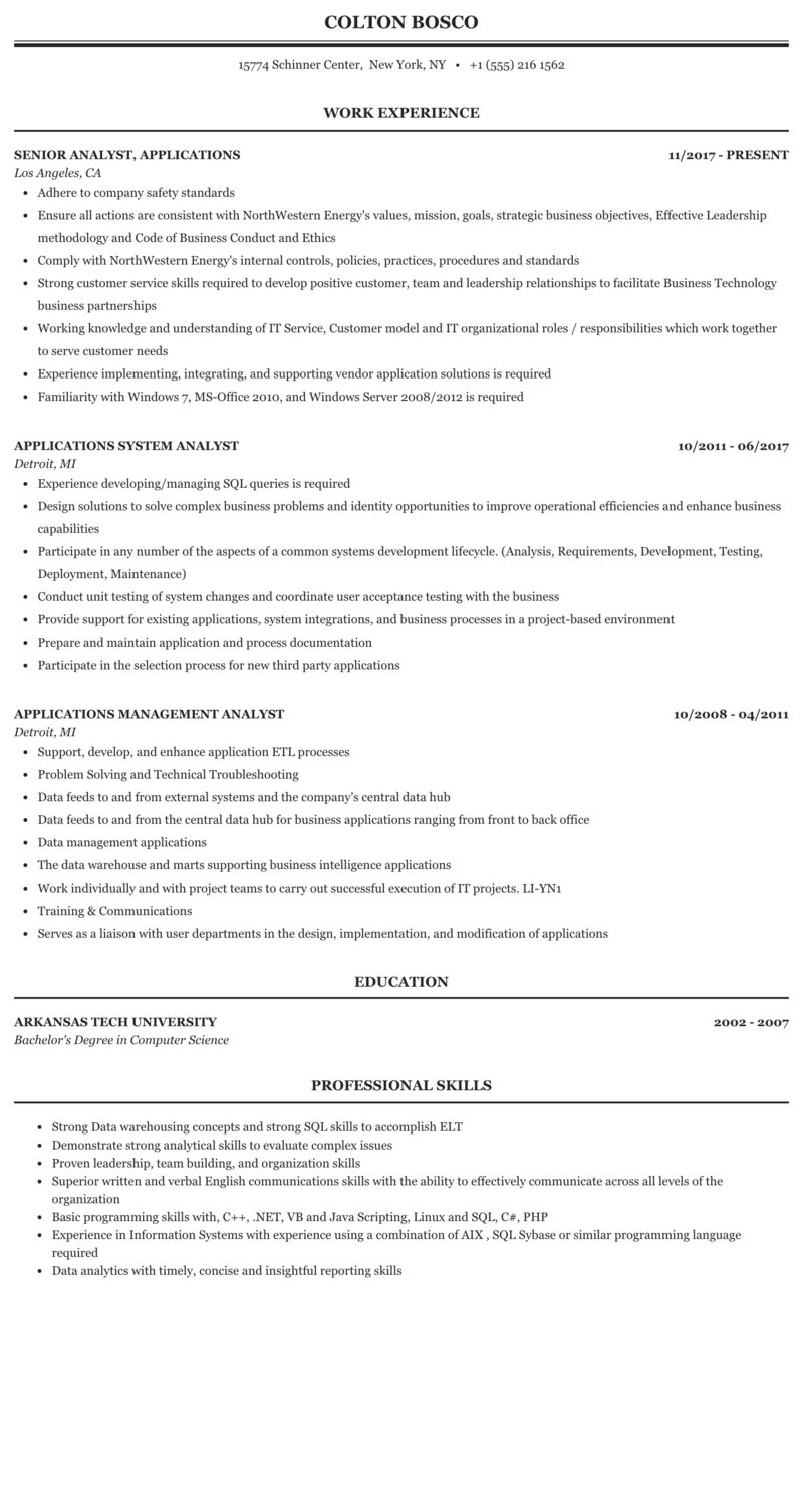 Analyst Applications Resume Sample | MintResume