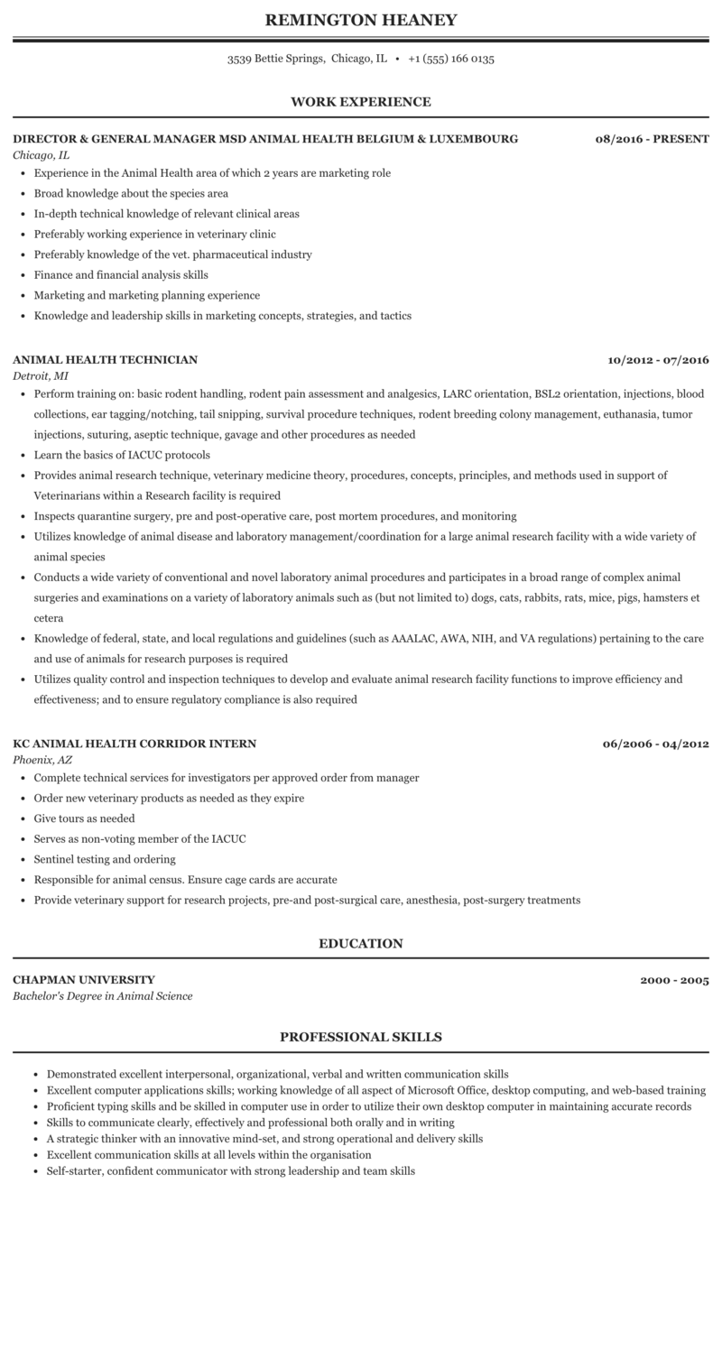 Animal Health Resume Sample | MintResume