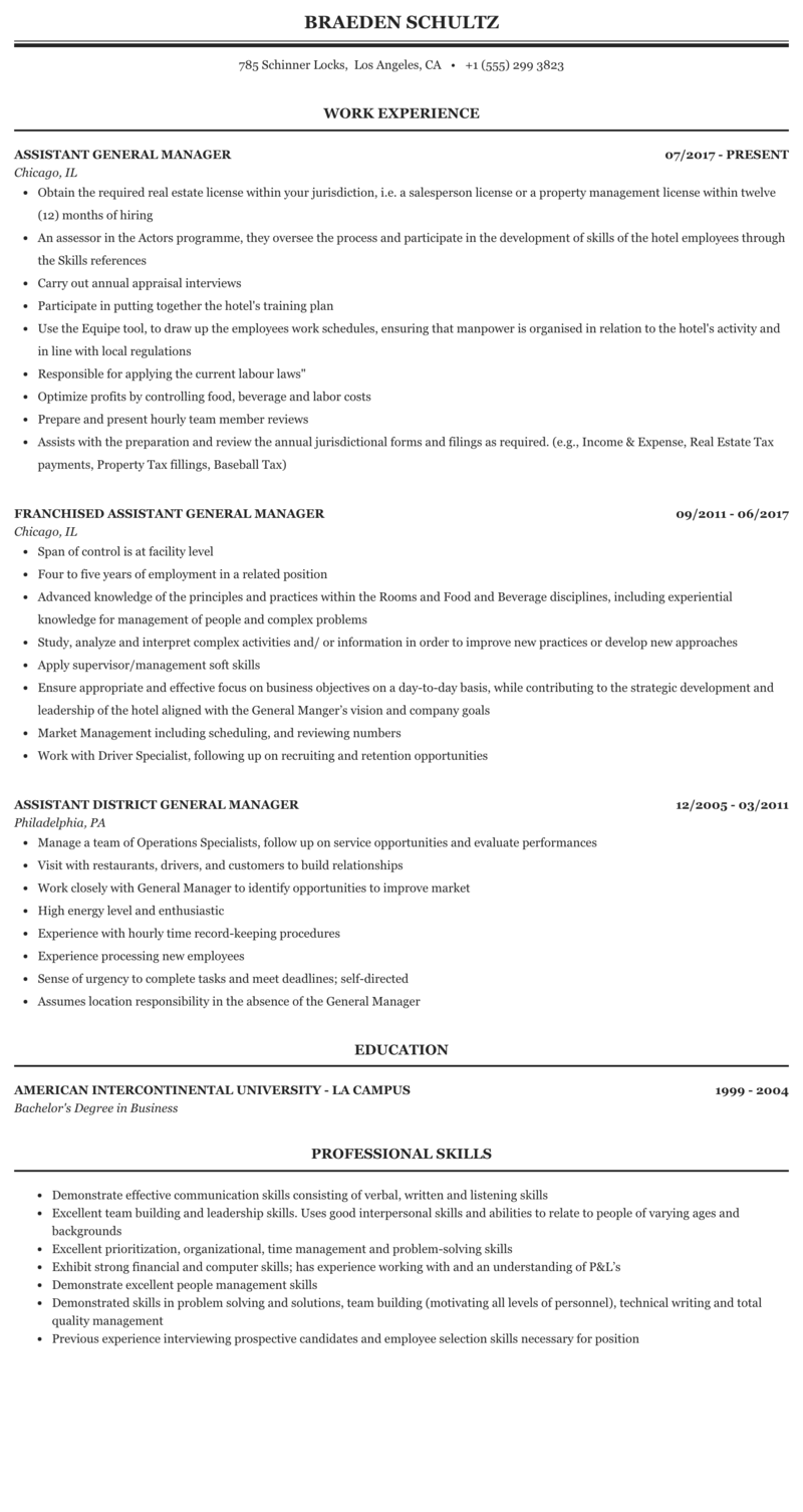 Sample resume of assistant general manager assignment ghostwriter websites usa