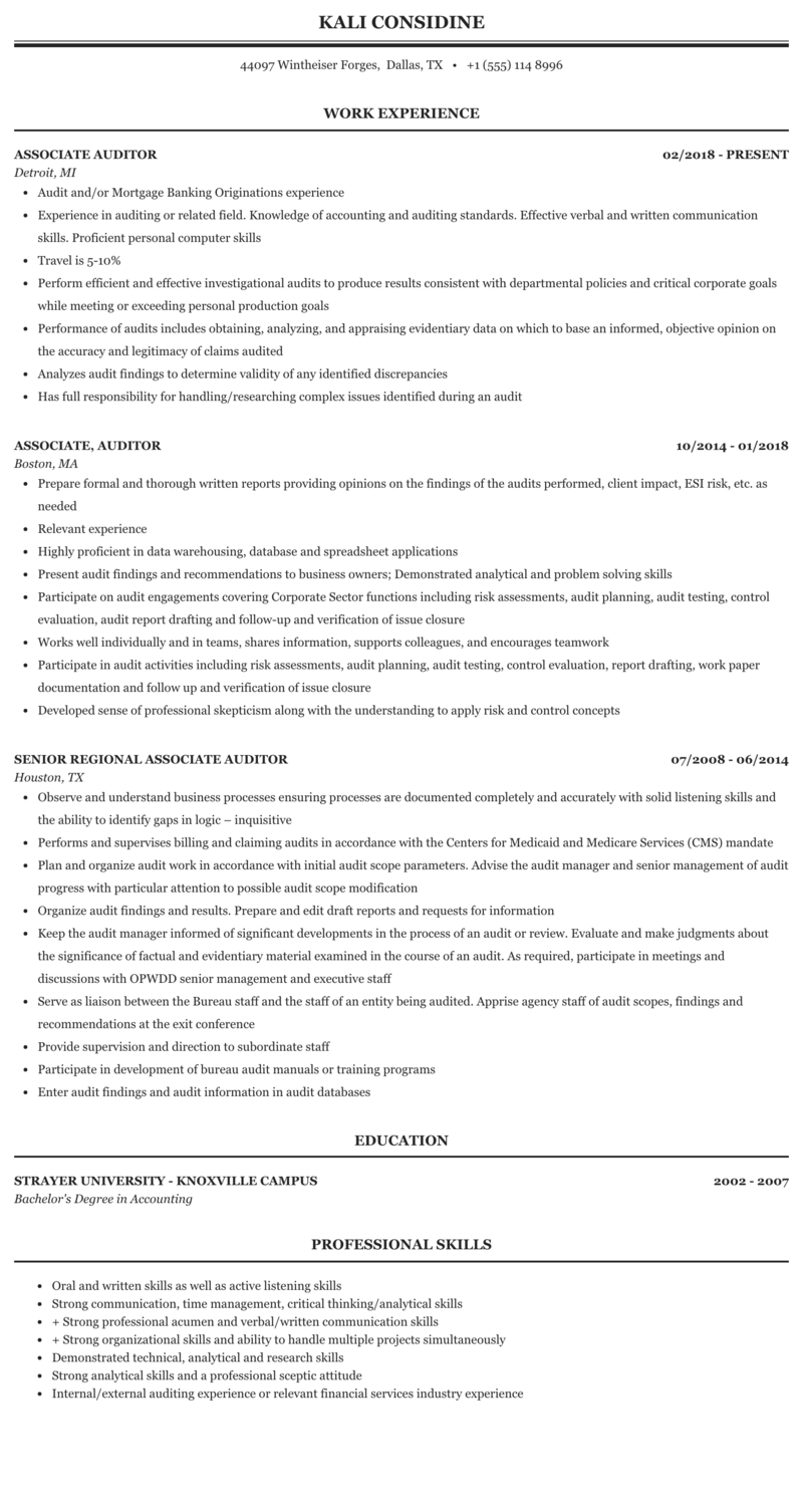 Associate Auditor Resume Sample Mintresume