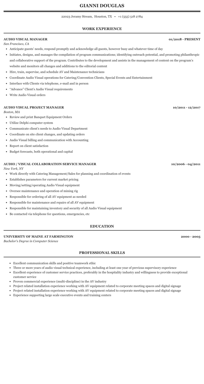 audio video project manager resume