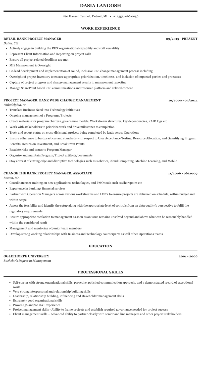 Bank Project Manager Resume Sample Mintresume