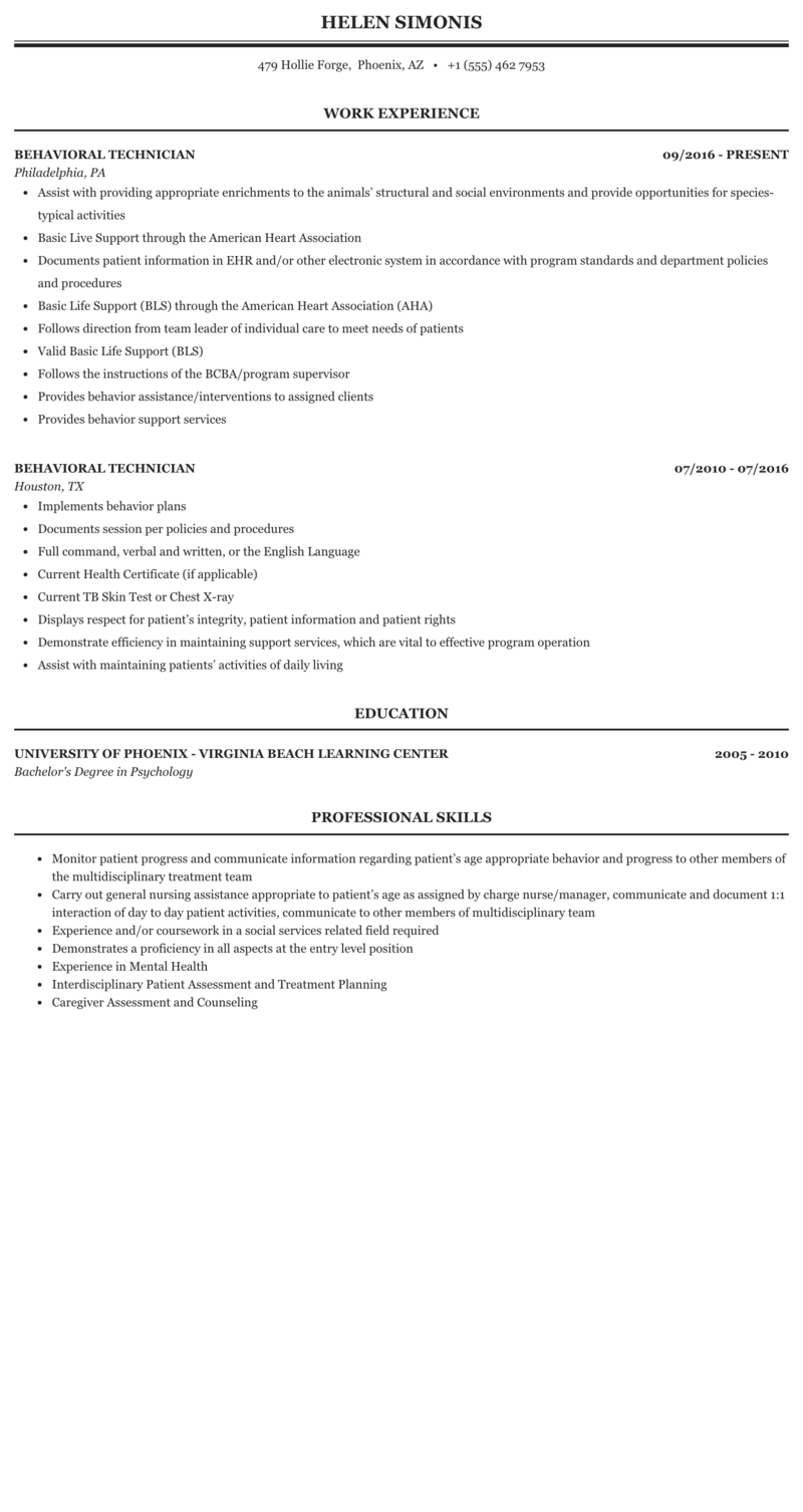 Behavioral Technician Resume Sample Mintresume