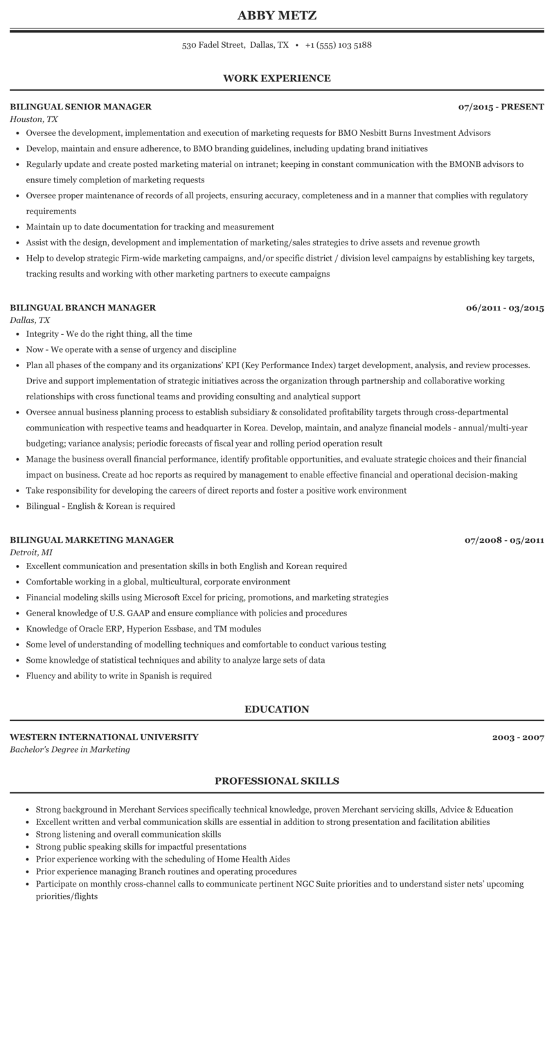 International equipment sales bilingual resume custom assignment editor for hire for mba
