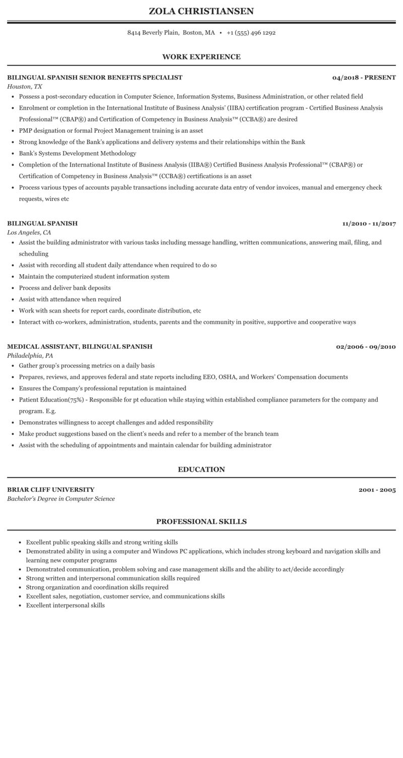 Bilingual Spanish Resume Sample Mintresume