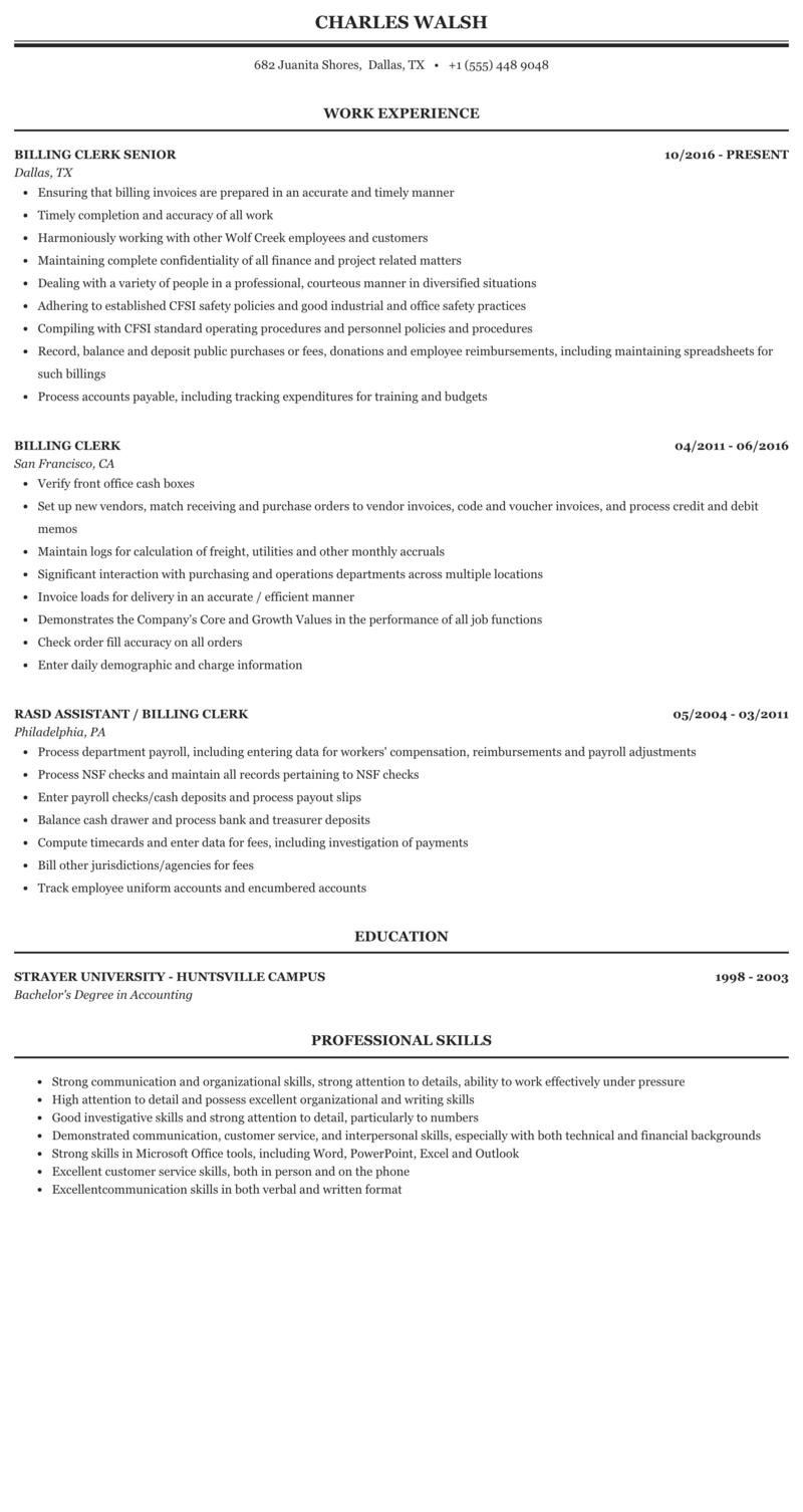 resume for billing clerk