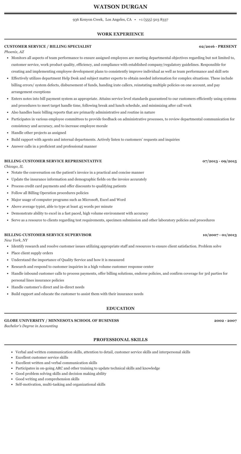 Billing Customer Service Resume Sample Mintresume