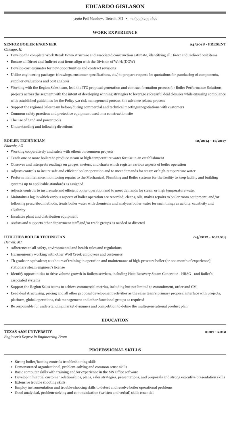 Boiler Resume Sample   MintResume