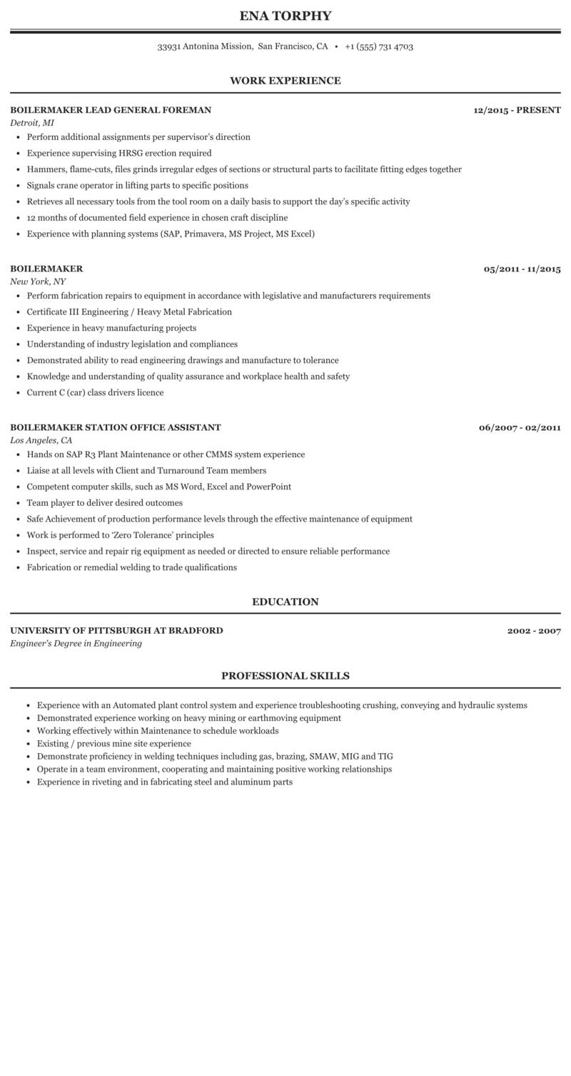 Resume for boilermaker heavy equipment resume examples