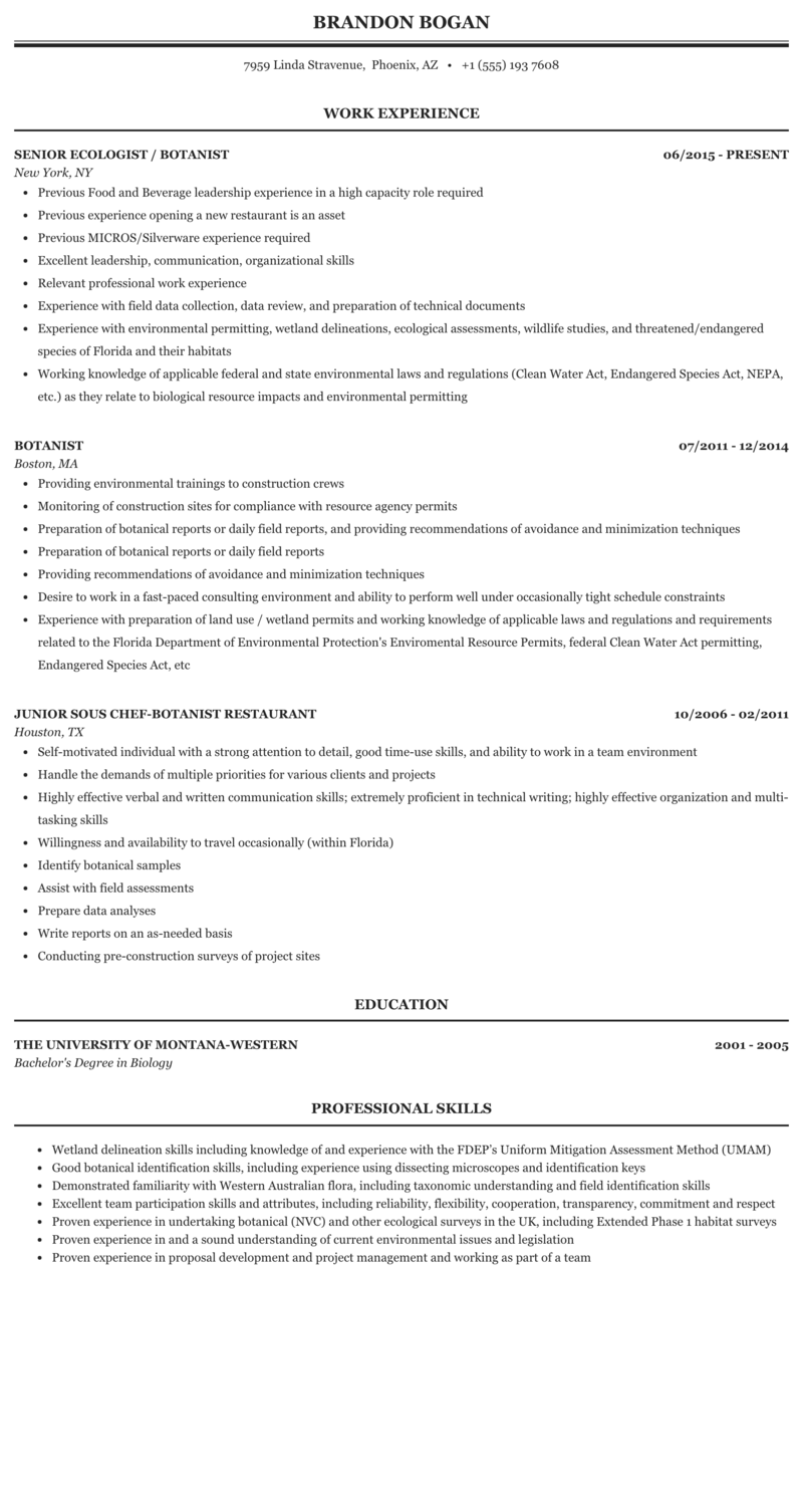 Cv biologist ecologist resume the great gatsby chapter 1 discussion questions
