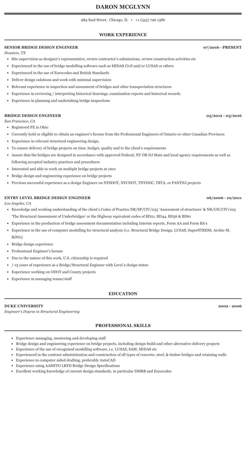 Bridge design engineer resume filetype pdf type my college essay
