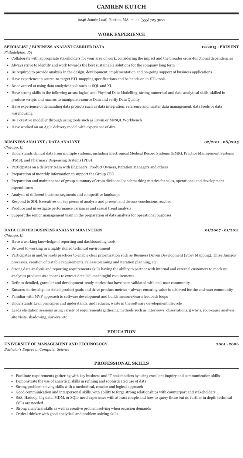 Business Analyst / Data Analyst Resume Sample | MintResume