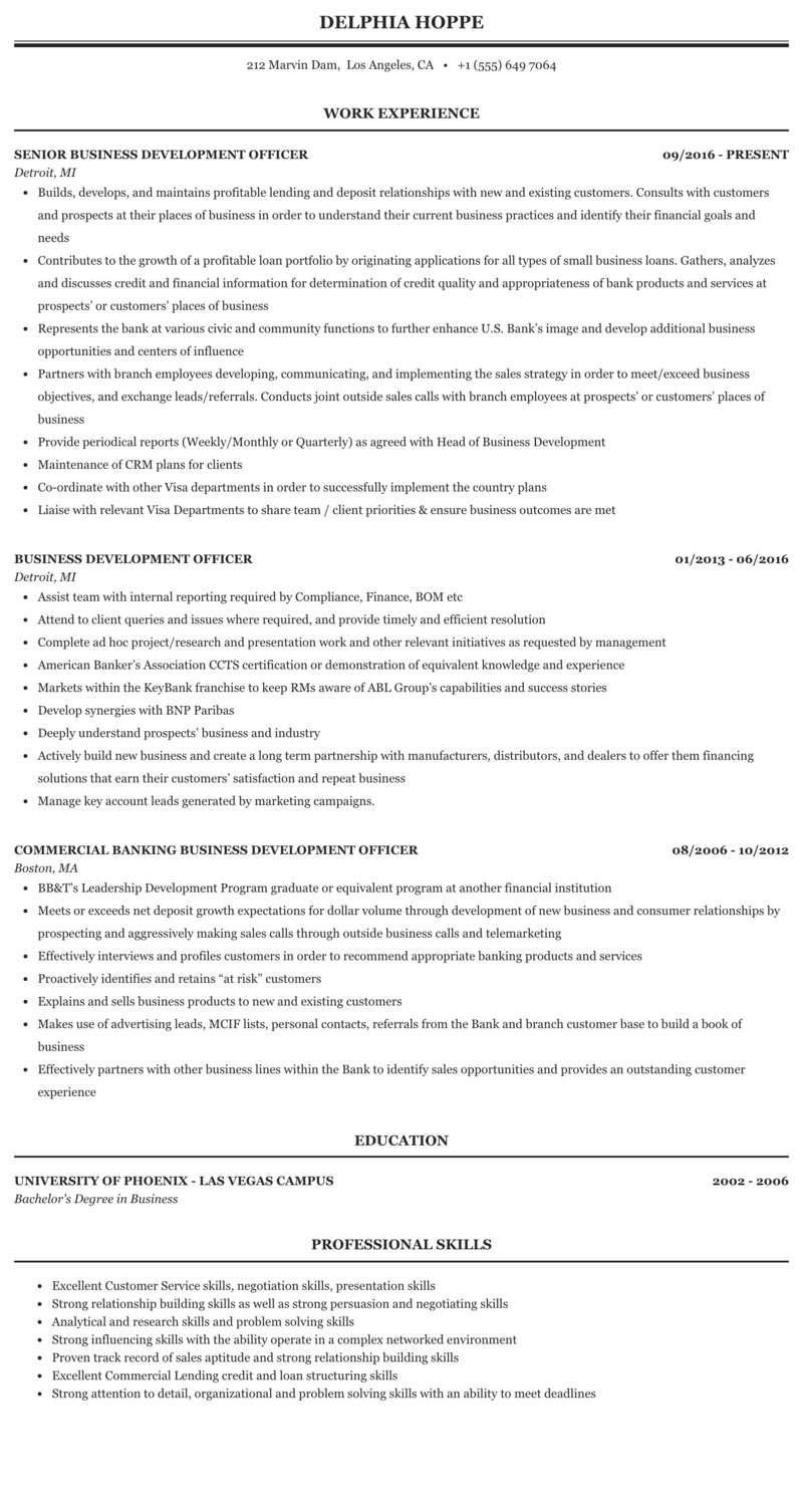 Business Development Officer Resume Sample Mintresume