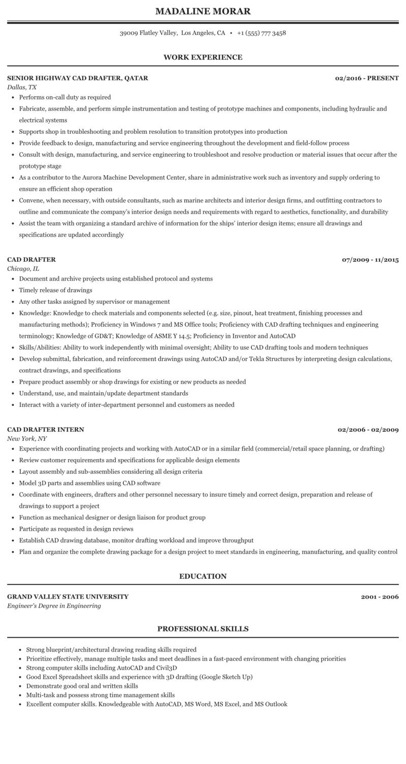 interior design draftsman job description example