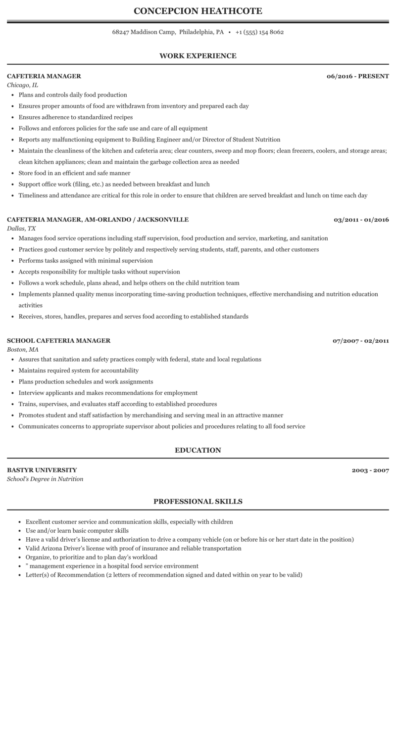 resume for cafeteria manager