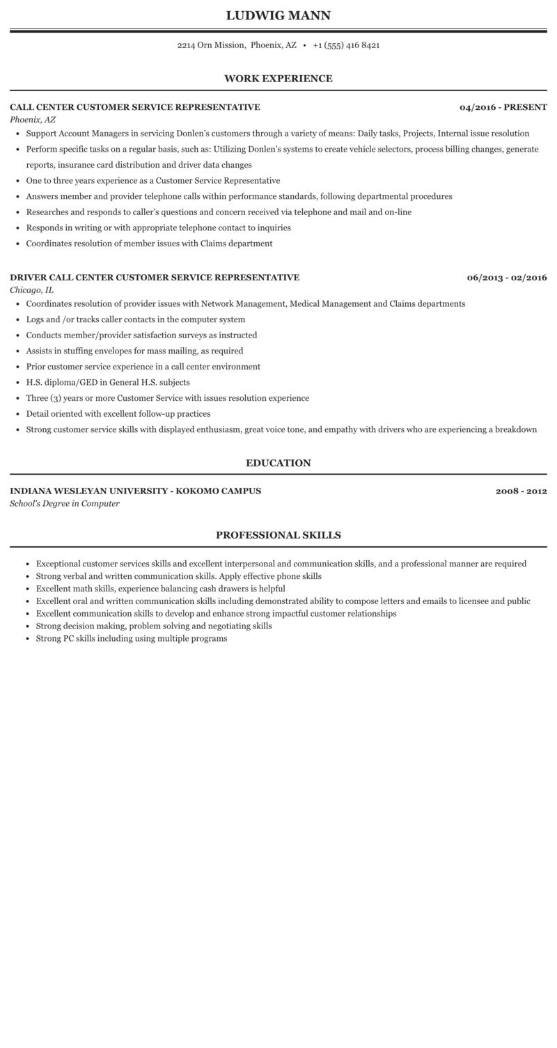 phone customer service resume