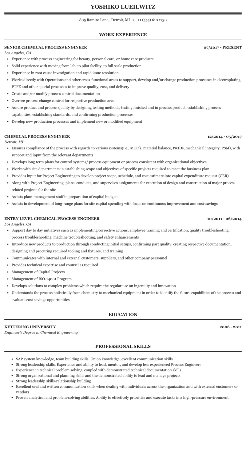 Process chemical engineer resume custom masters dissertation chapter example