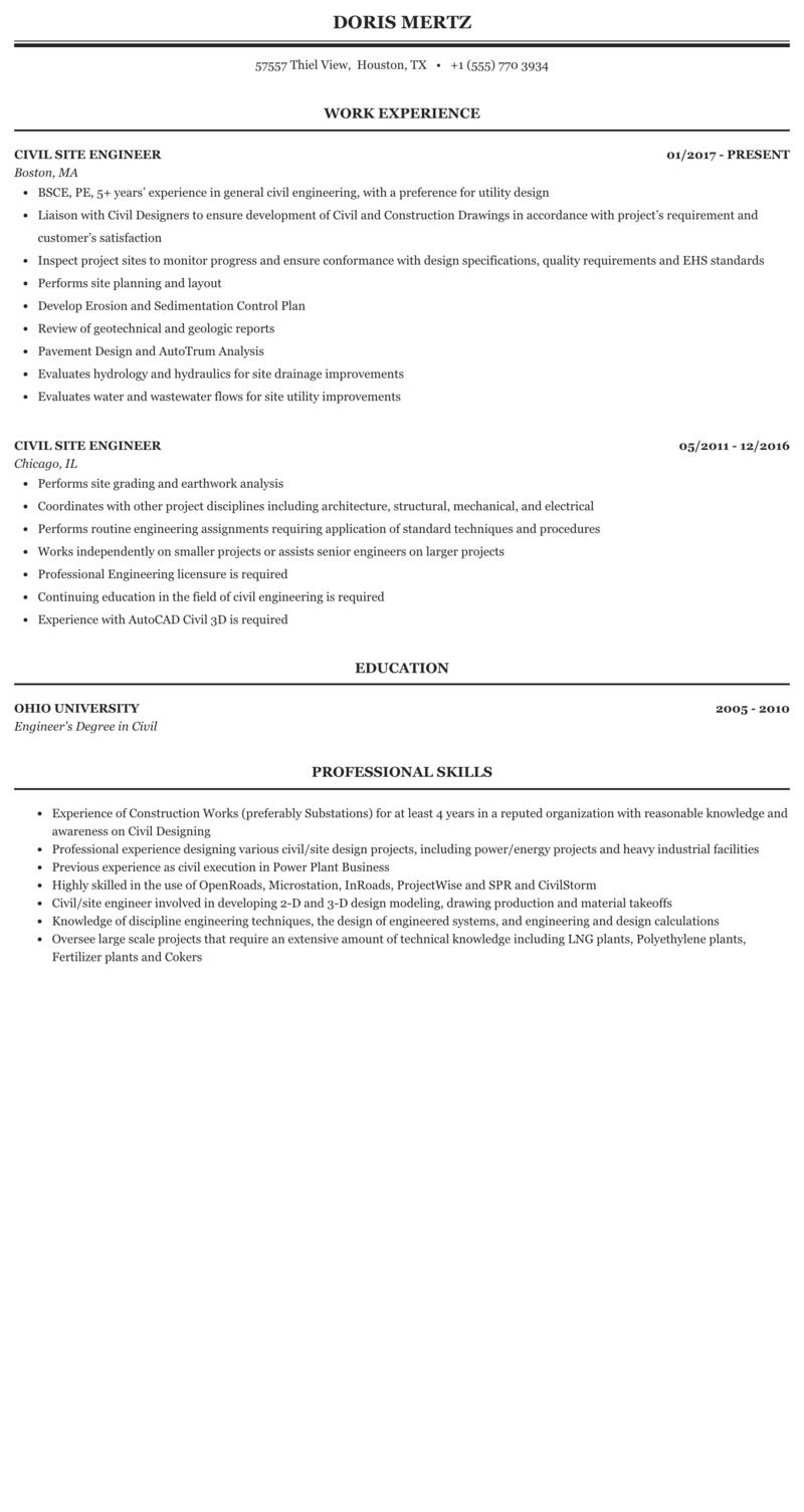Civil Site Engineer Resume Sample Mintresume