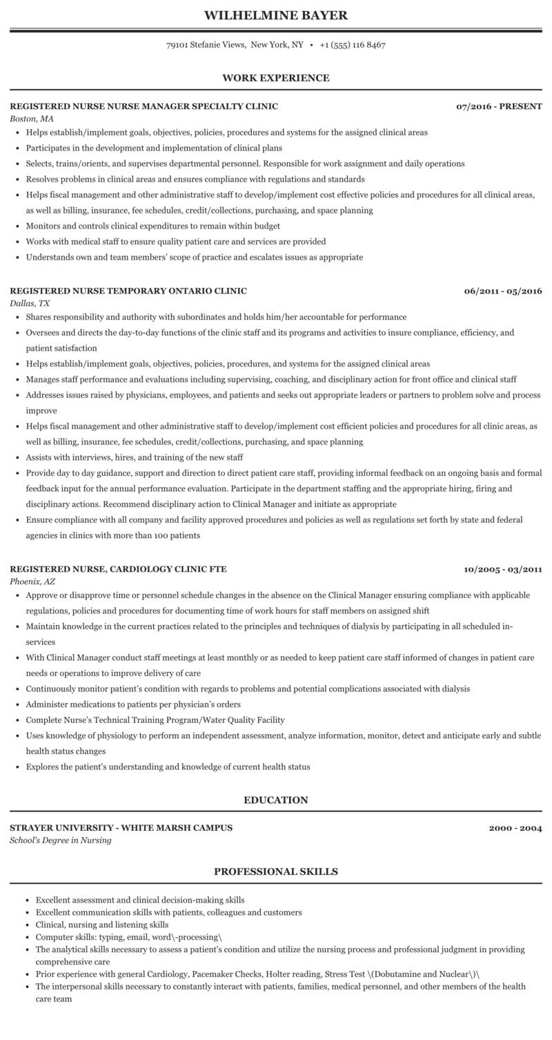 outpatient clinic nurse resume