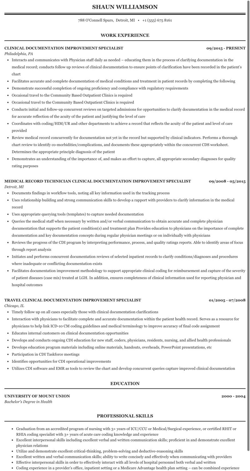 Clinical Documentation Improvement Specialist Resume Sample Mintresume