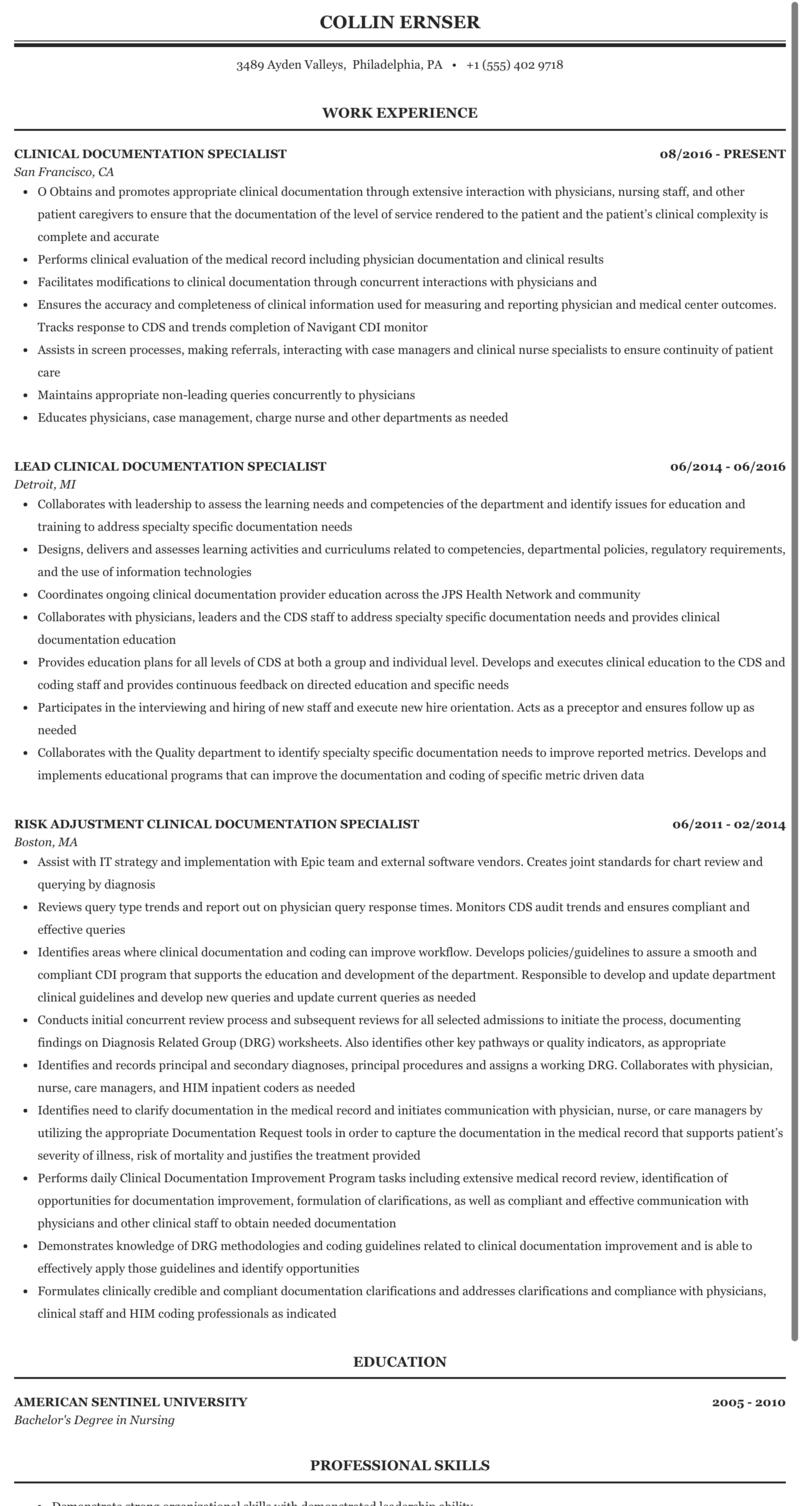 Clinical Documentation Specialist Resume Sample Mintresume