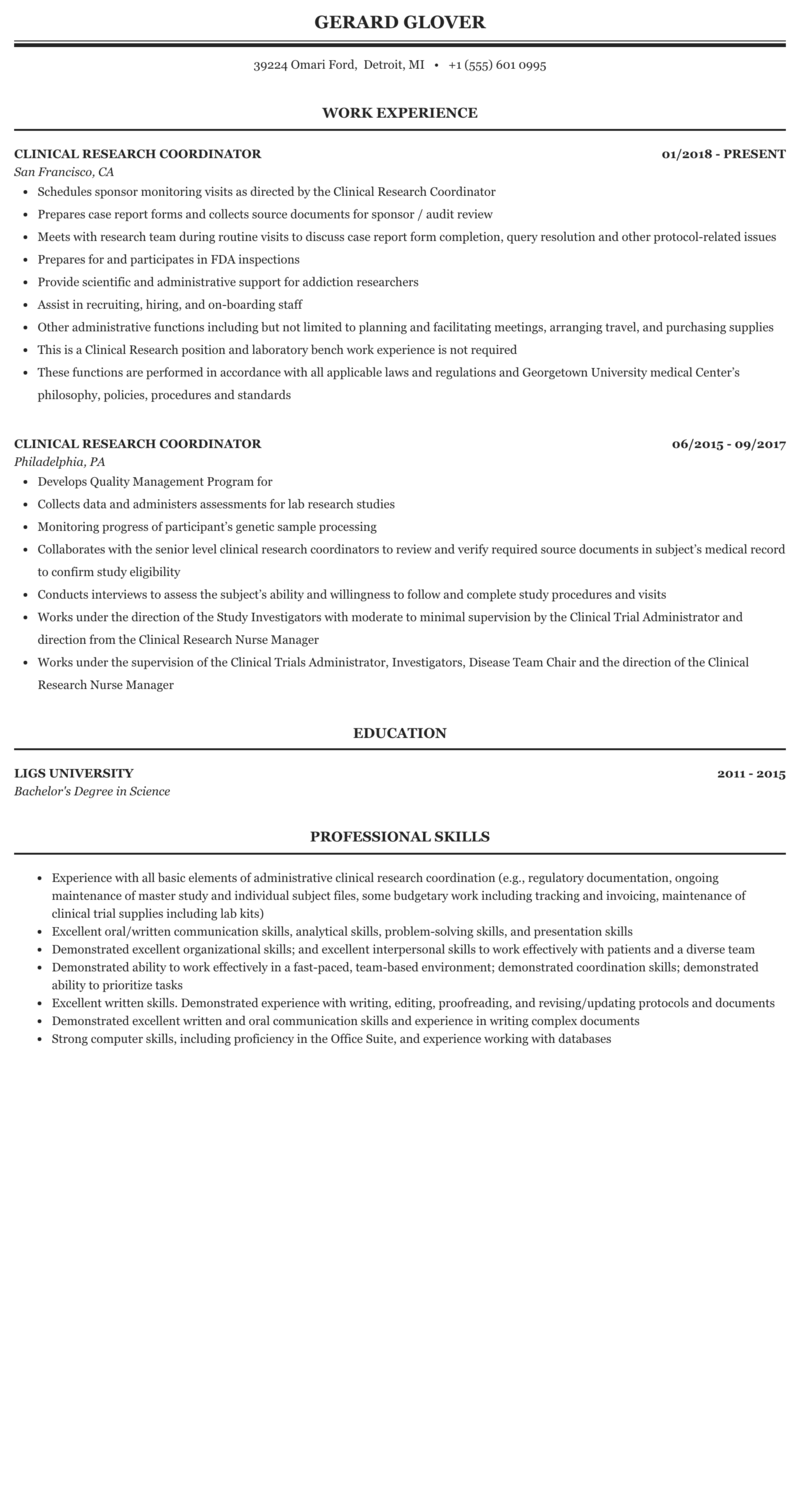 clinical research coordinator resume resume objective for