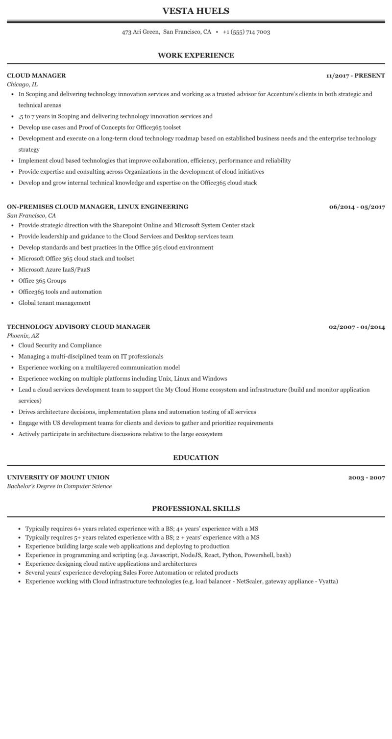 Cloud Manager Resume Sample | MintResume