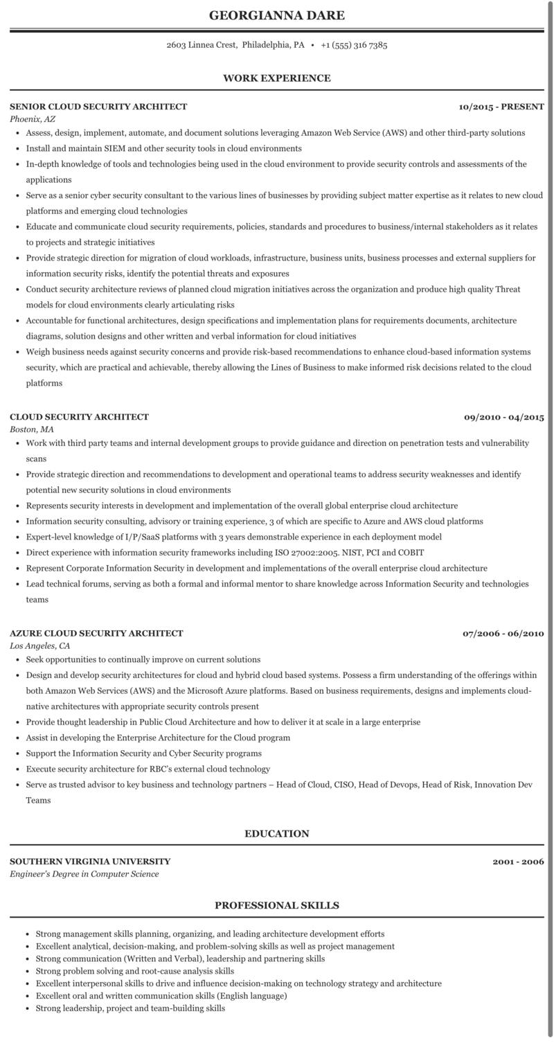 Cloud Security Architect Resume Sample | MintResume