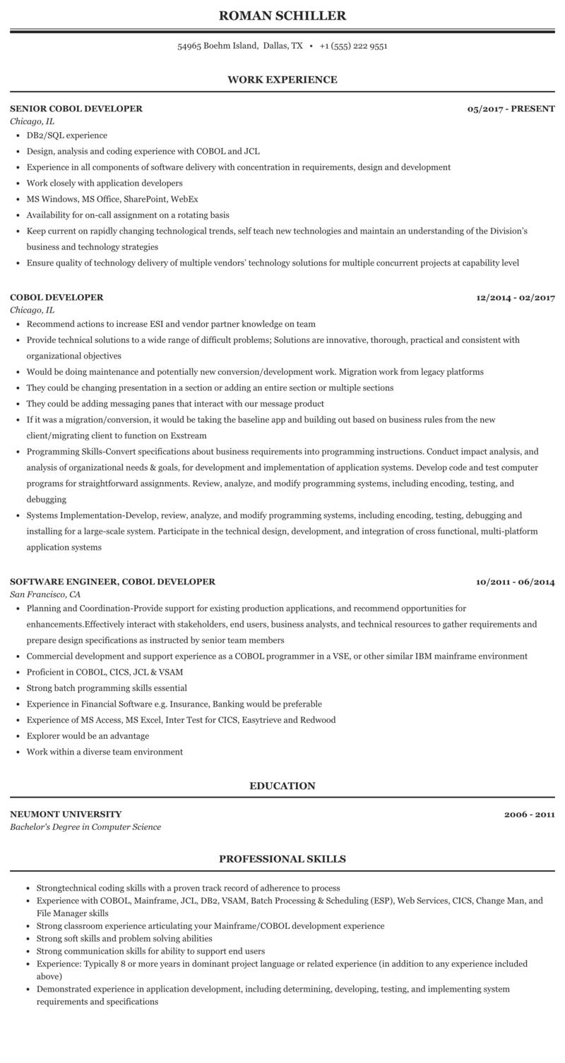 cobol developer contract jobs in usa  the best developer