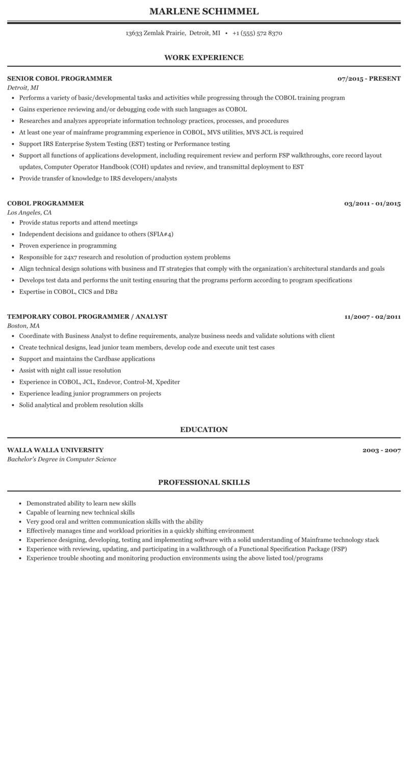 mainframe systems programmer sample resume  amtframeco