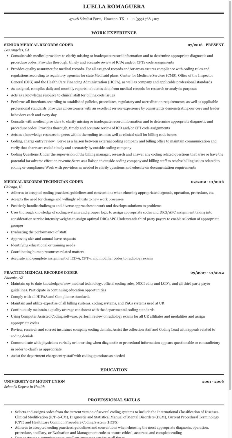 Coder Medical Records Resume Sample   MintResume