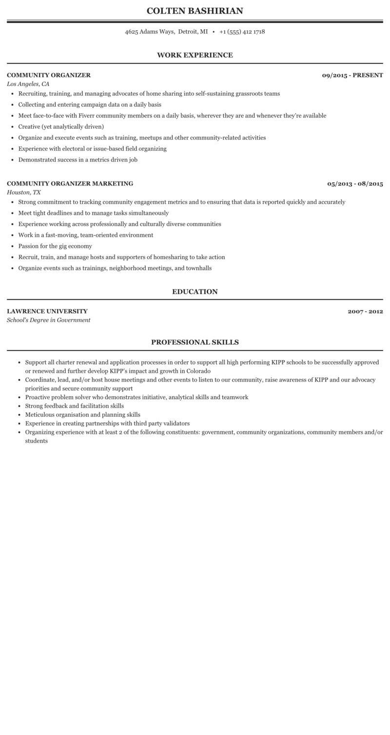 community organizing resume sample