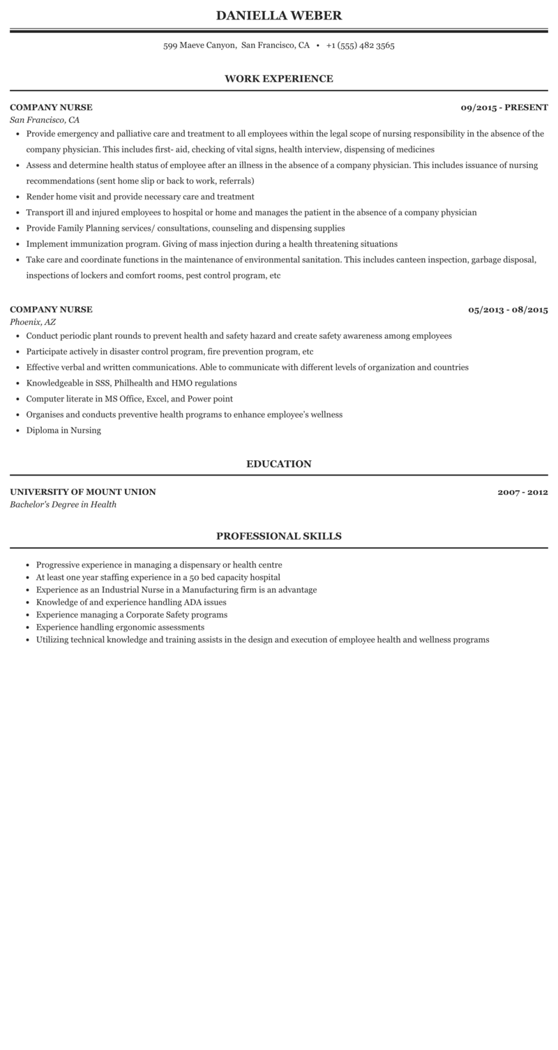 Company Nurse Resume Sample Mintresume