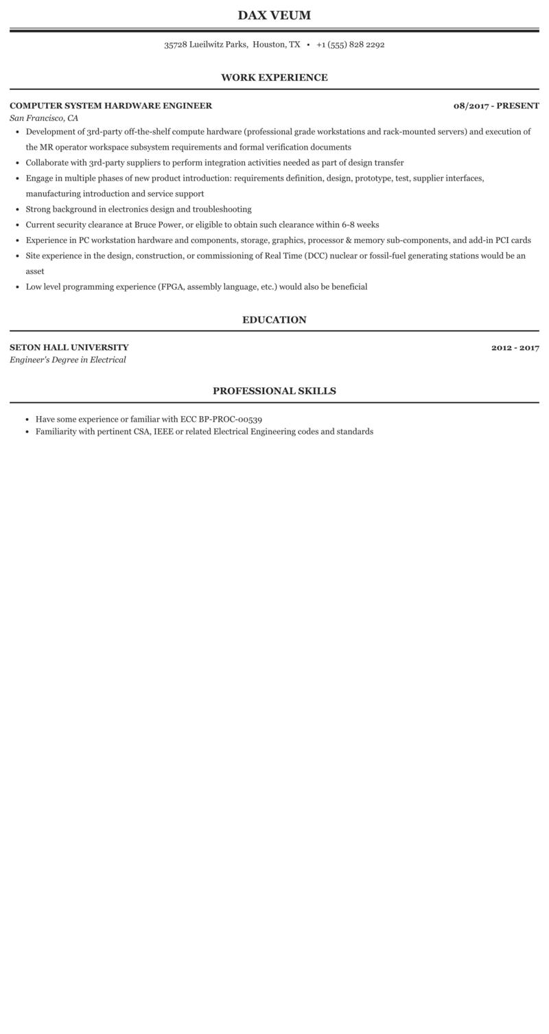 Computer Hardware Engineer Resume Sample | MintResume