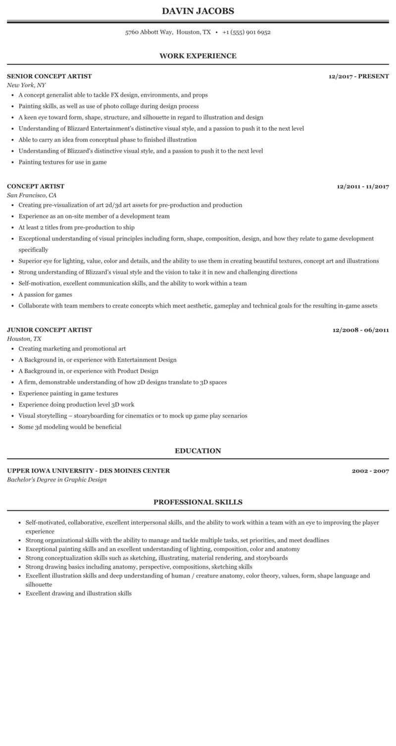 examples of artist resumes  3d artist resume sample