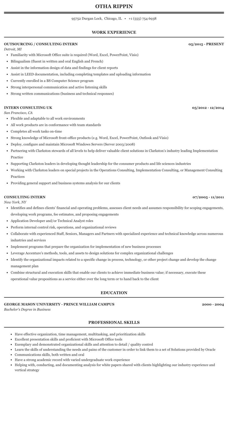 Consulting Intern Resume Sample Mintresume