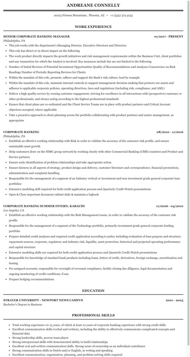Corporate Banking Resume Sample Mintresume