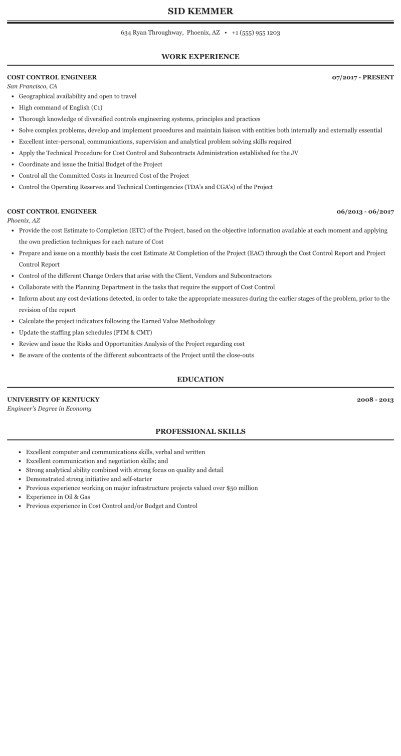 resume cost control
