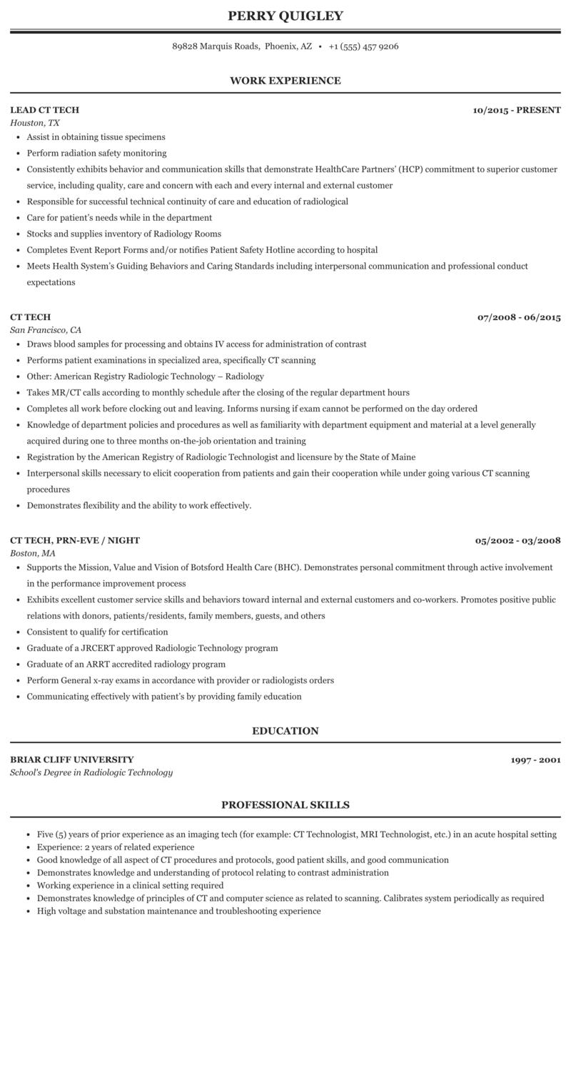 Ct Tech Resume Sample Mintresume