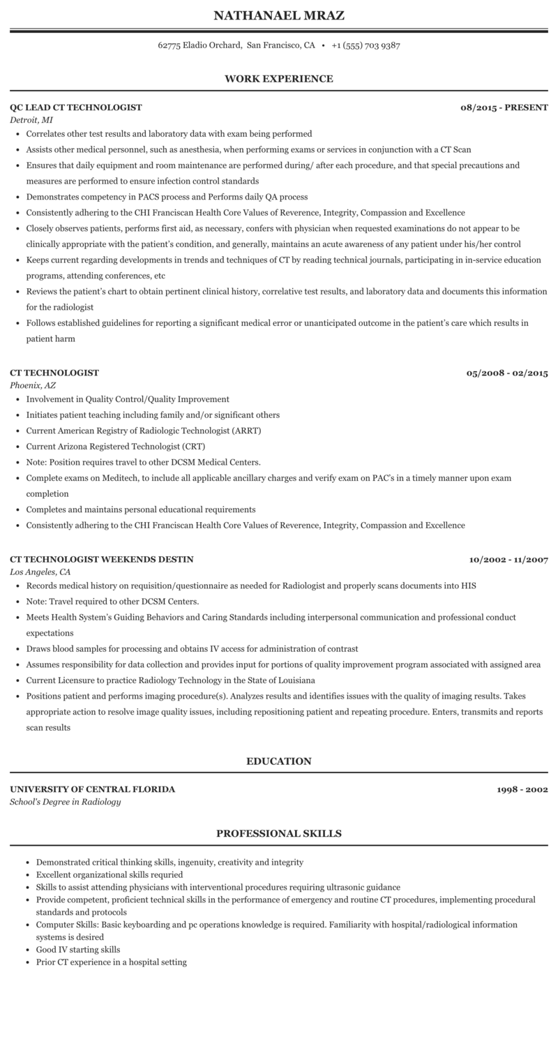 Resume For Radiologic Technologist لم يسبق له مثيل الصور Tier3 Xyz