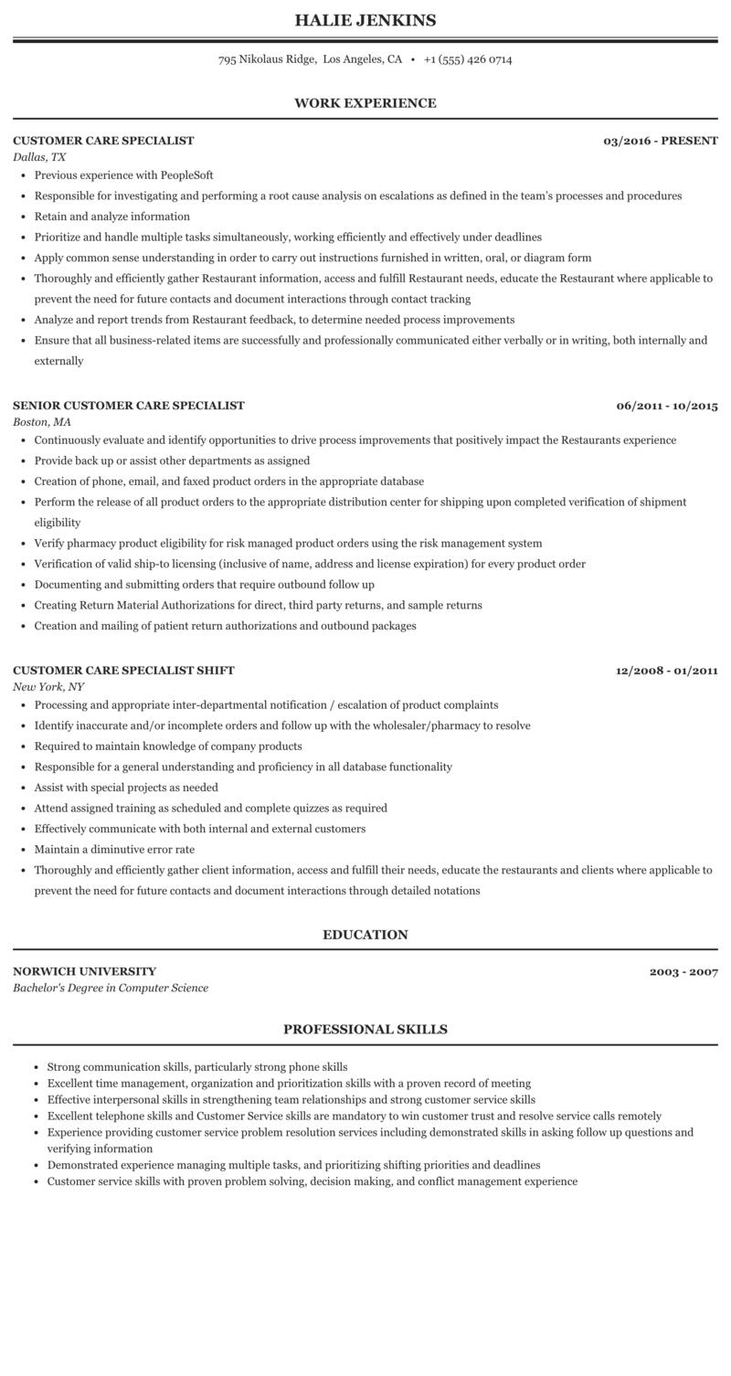 Customer Care Specialist Resume Sample Mintresume