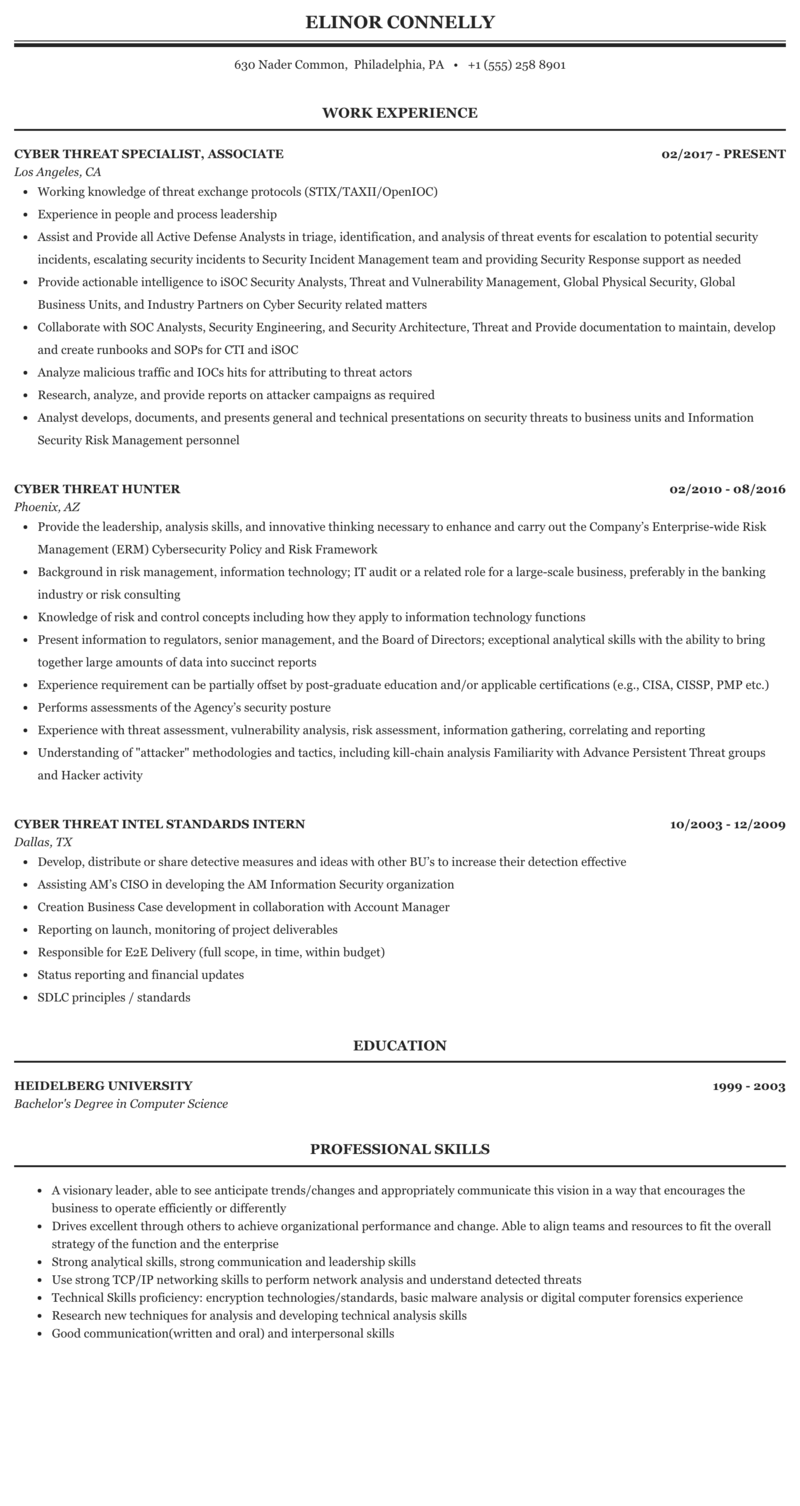 Cyber Threat Resume Sample | MintResume