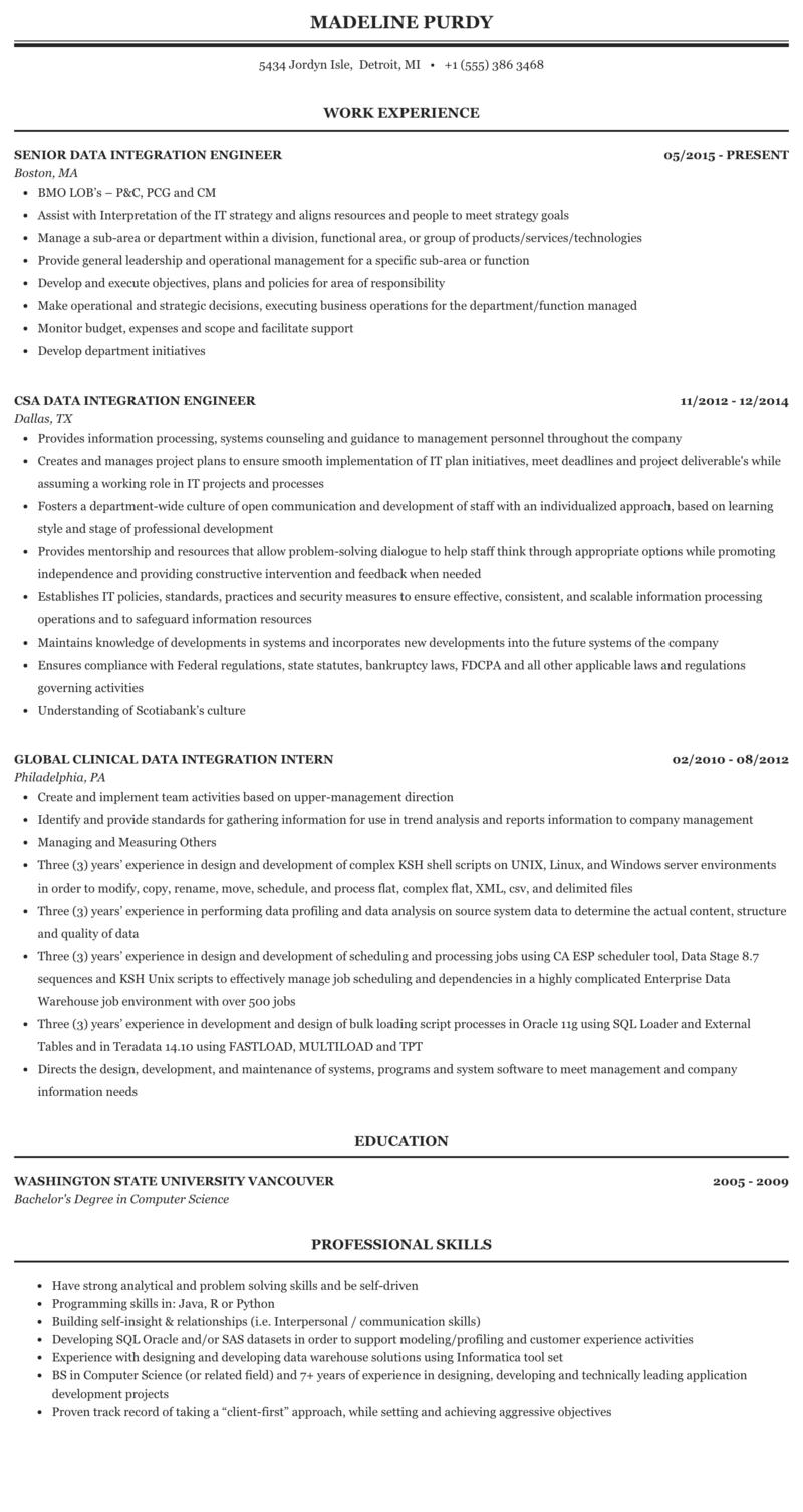 Data Integration Resume Sample | MintResume